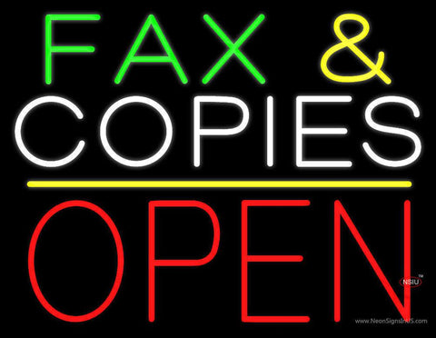Fax and Copies Yellow Line Block Open Real Neon Glass Tube Neon Sign
