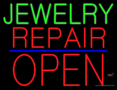 Jewelry Repair Block Open Blue Line Real Neon Glass Tube Neon Sign