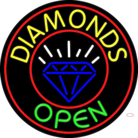 Diamonds Open Block with Logo Real Neon Glass Tube Neon Sign