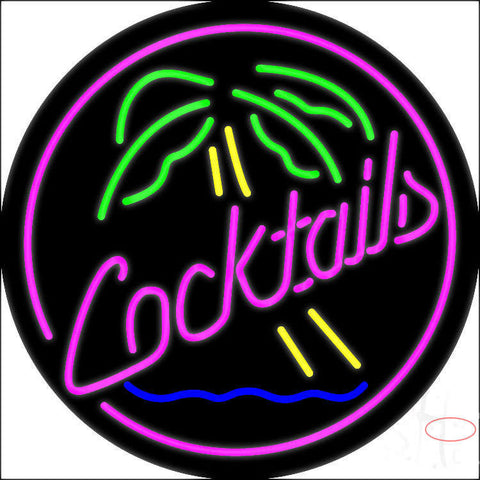 Pink Cocktail Oval Palm Tree Neon Sign