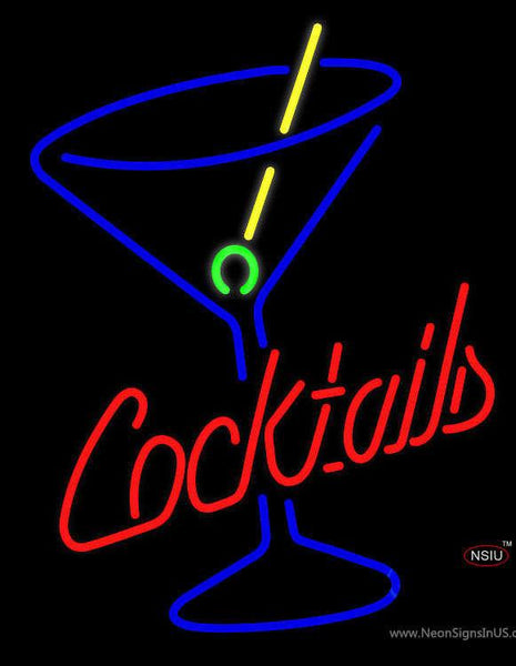 Cocktails and Martini Glass Handmade Art Neon Sign