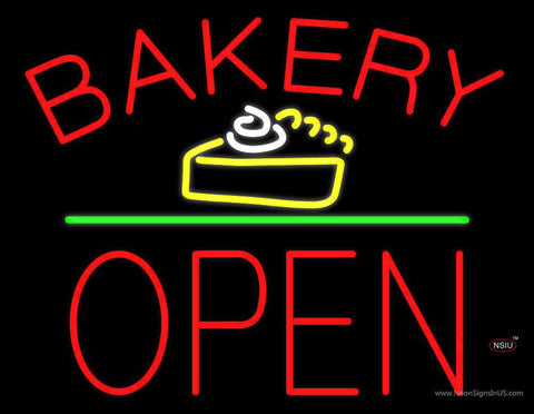 Bakery Logo Block Open Green Line Real Neon Glass Tube Neon Sign