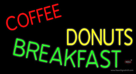 Coffee Donuts Breakfast Real Neon Glass Tube Neon Sign