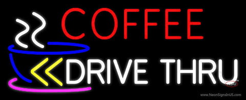 Coffee Drive Thru With Yellow Arrow Real Neon Glass Tube Neon Sign
