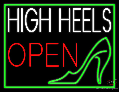White High Heel Open Neon Sign