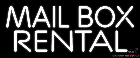 White Mail Box Rental Neon Sign