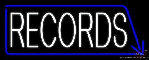 White Records With Blue Arrow  Neon Sign