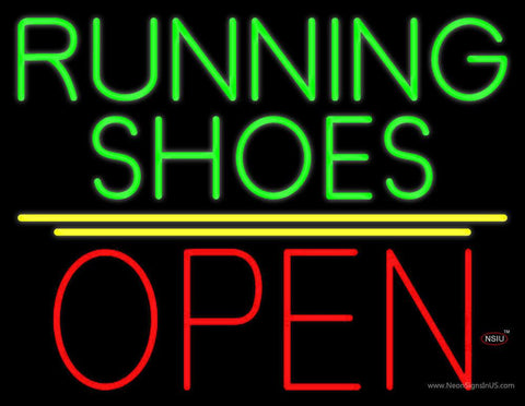 Green Running Shoes Open Real Neon Glass Tube Neon Sign