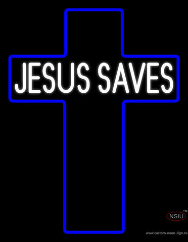 White Jesus Saves Neon Sign