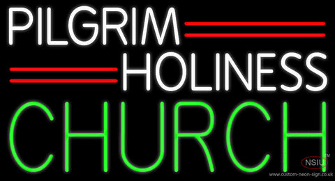 White Pilgrim Holiness Green Church Neon Sign