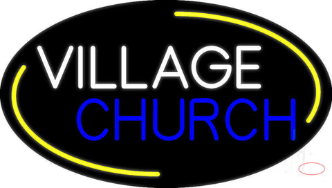 White Village Blue Church Neon Sign