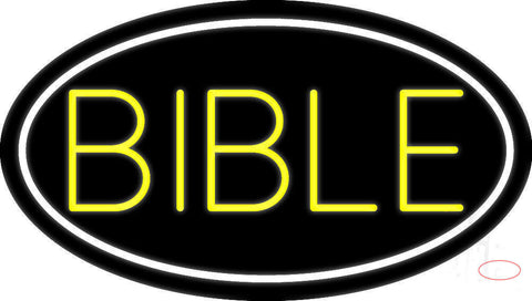 Yellow Bible Neon Sign