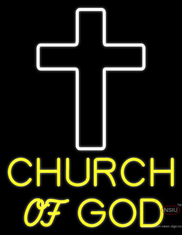 Yellow Church Of God Neon Sign