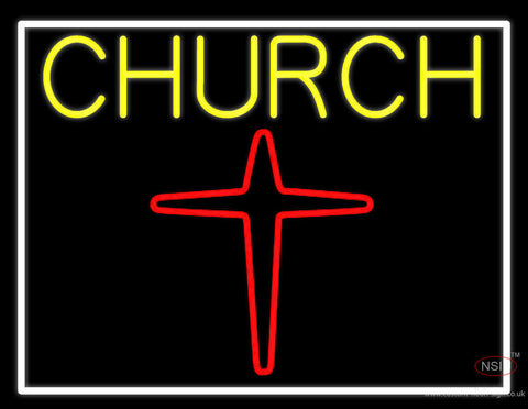 Yellow Church With Cross Logo Neon Sign