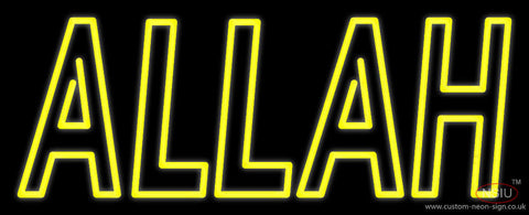 Yellow Double Stroke Allah Neon Sign