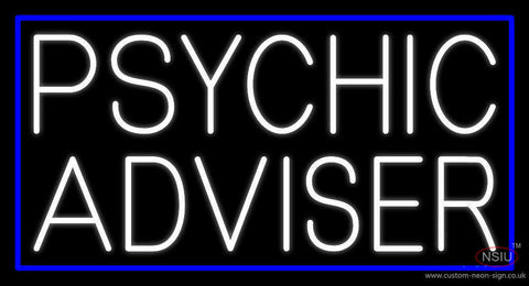 White Psychic Advisor Blue Border Neon Sign