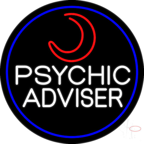 White Psychic Advisor With Logo Neon Sign