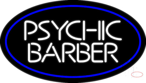 White Psychic Barber With Blue Border Neon Sign