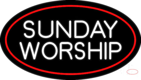 White Sunday Worship Neon Sign