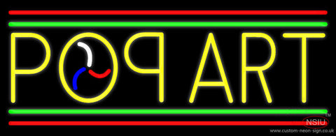 Yellow Pop Art Red And Green Line Neon Sign