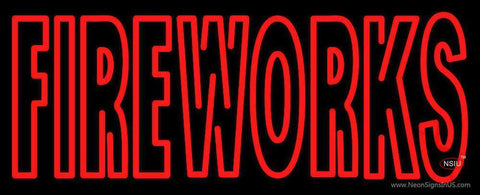 Double Stroke Fire Works Neon Sign