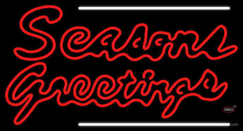Double Stroke Seasons Greetings  Neon Sign