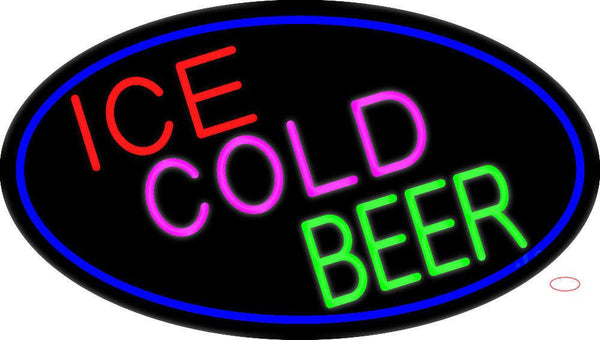 Ice Cold Beer Oval With Blue Border Real Neon Glass Tube Neon Sign