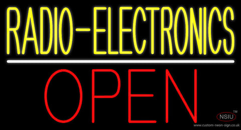 Radio Electronics Open Block White Line Neon Sign