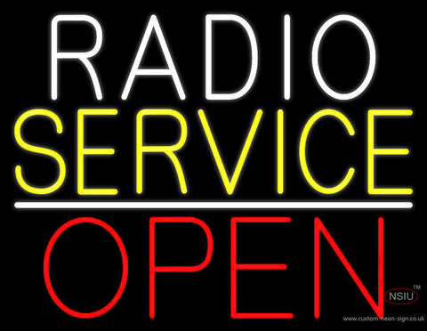 Radio Service Open Block Neon Sign