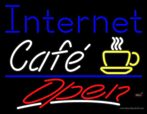 Internet Cafe Open With Coffee Cup Real Neon Glass Tube Neon Sign
