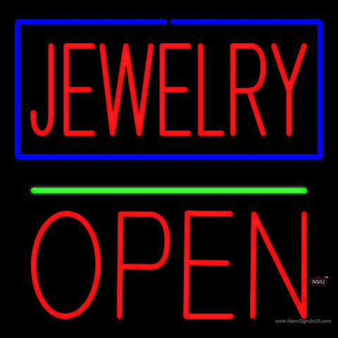 Jewelry Green Line Open Block Real Neon Glass Tube Neon Sign