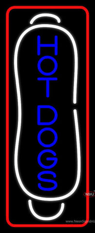 Blue Vertical Hot Dogs With Border Real Neon Glass Tube Neon Sign