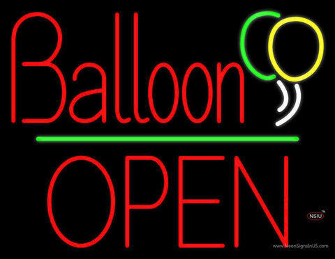 Balloon Open Block Green Line Real Neon Glass Tube Neon Sign