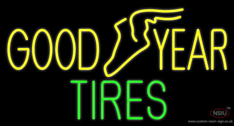 Yellow Goodyear Tires Neon Sign