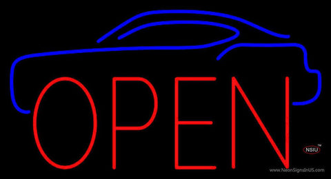Car Open Block Real Neon Glass Tube Neon Sign