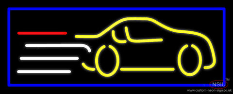 Yellow Car Logo Blue Border Neon Sign