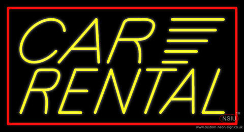 Yellow Car Rental Red Border Neon Sign