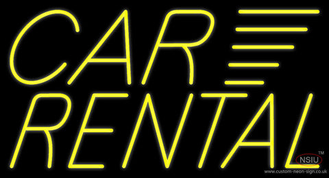 Yellow Car Rental Neon Sign