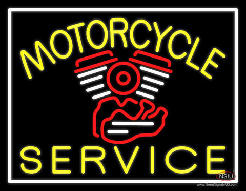 Yellow Motorcycle Service White Border Real Neon Glass Tube Neon Sign