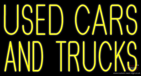 Yellow Used Cars And Trucks Neon Sign