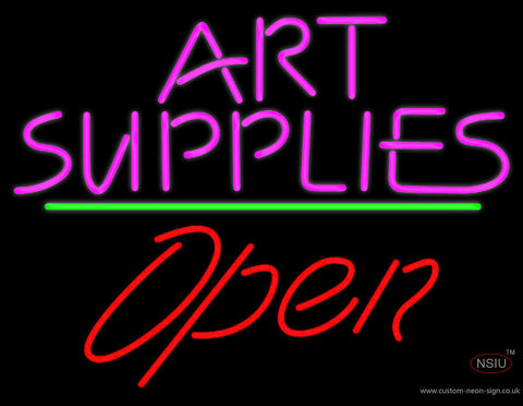 Pink Art Supplies Block With Open  Neon Sign