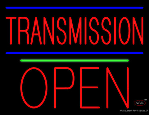 Red Transmission Open Block Open Green Line Neon Sign