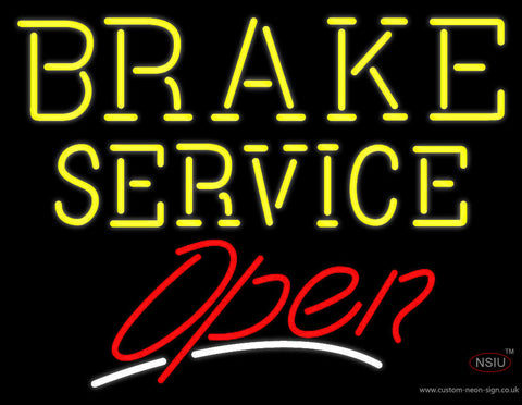 Yellow Brake Service Open Neon Sign