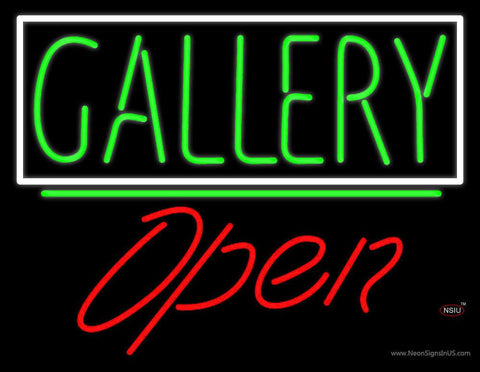 Green Gallery Block With Open  Real Neon Glass Tube Neon Sign