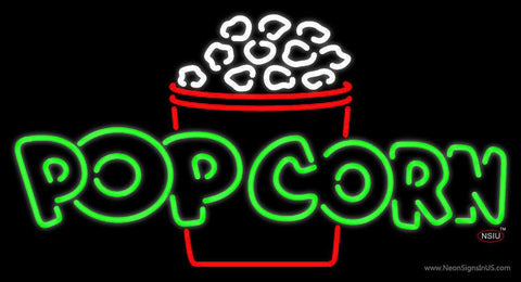 Green Pop Corn Logo Real Neon Glass Tube Neon Sign