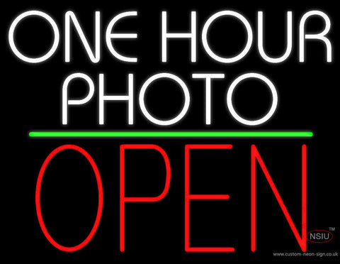 White One Hour Photo Open  Neon Sign
