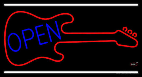 Guitar Blue Open Block Real Neon Glass Tube Neon Sign