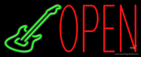 Guitar Open Block  Real Neon Glass Tube Neon Sign