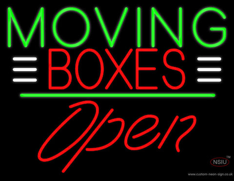Red Moving Boxes Block Green Line With Open  Neon Sign