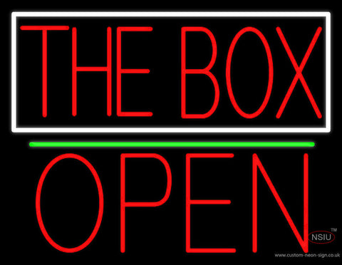The Box Block With White Border With Open  Neon Sign